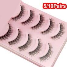 Hot 5/10 Pairs False Eyelash Extension Handmade Natural Cross Eyelashes Perfect Eye Lashes Girls Makeup Wimper Extensiofor