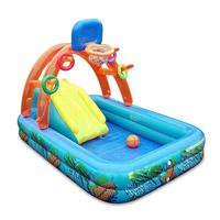 2020 New Inflatable Swimming Pool Kids Basketball Playing Pool With Basketball Hoop Water Slide For Children