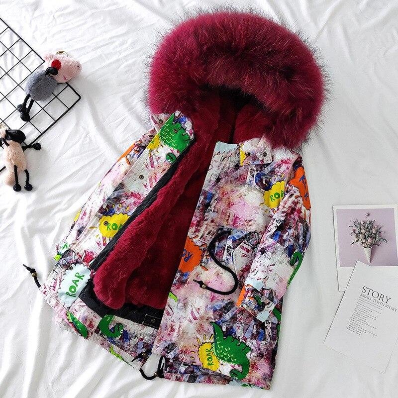 Russian Winter Girls Boys Fur Parkas Detachable Natural Rabbit Fur Liner Thick Kids Winter Jacket Real Raccoon Fur Hooded Coat