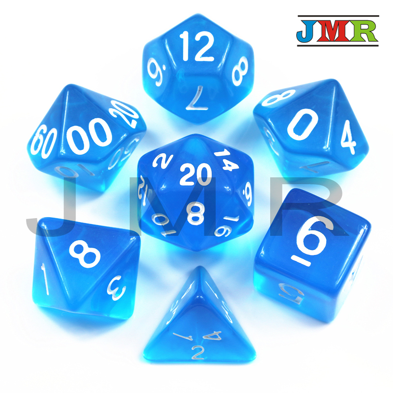 Colorful Transparent 7pcDie Set With Candy Effect Poker Game Dice,Blue Color D&d D4,d6,d8,d10,d12,d20 For Rpg Dnd Board Game