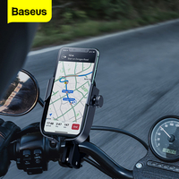 Baseus Motorcycle Phone Holder Bike Bicycle Mobile Phone Stand For iPhone Samsung Support Moto Motorbike Mount Cell Phone Holder|Phone Holders & Stands| |  -