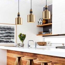 Nowoczesne złoto ledowe lampa wisząca z żelaza lampa w stylu industrialnym salon restauracja/Bar lampka do sypialni łóżko deco maison