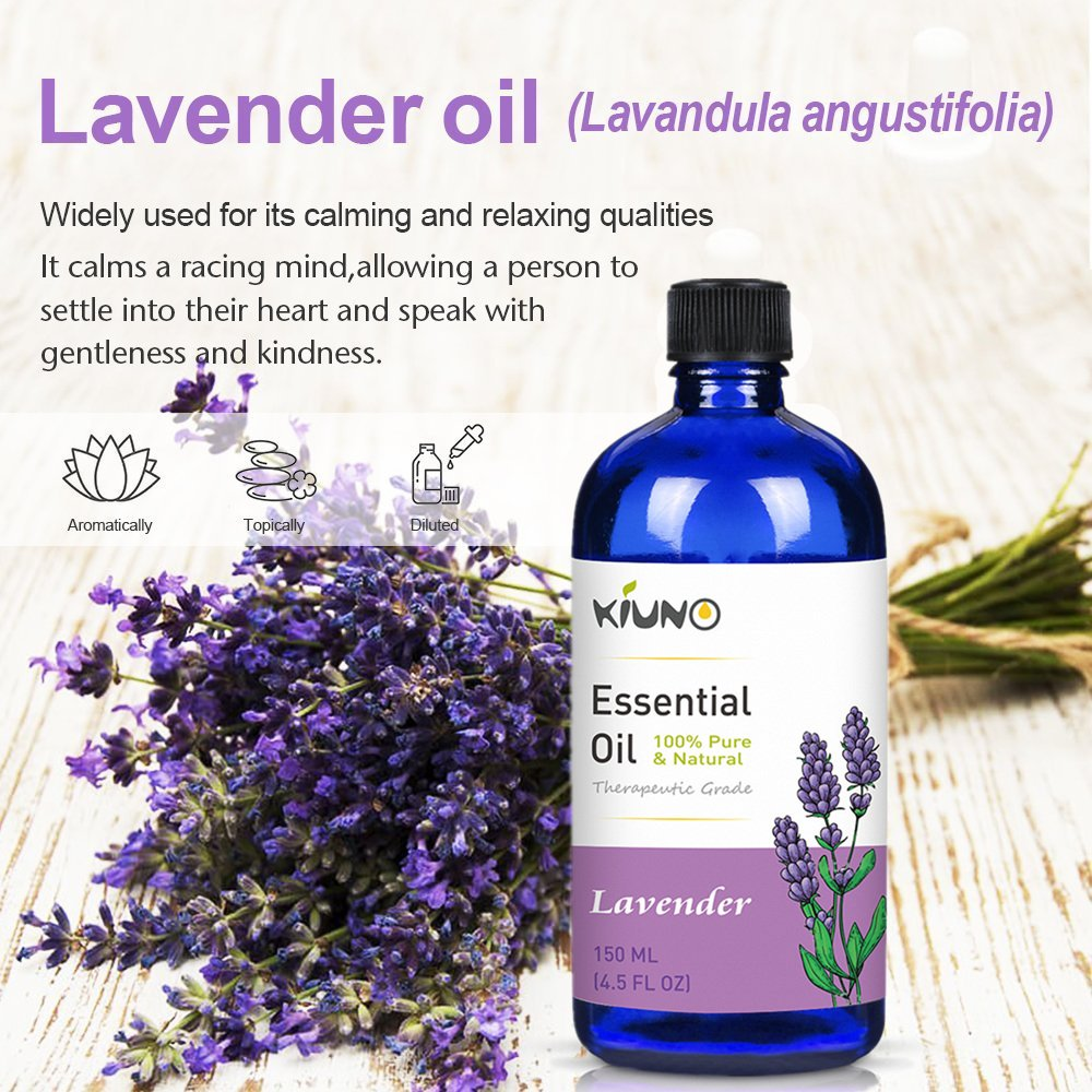 KIUNO 150ML Lavender Essential Oil Aromatherapy 100% Pure Basic Essential Oil For Relieve Stress Organic Body Massage Relax