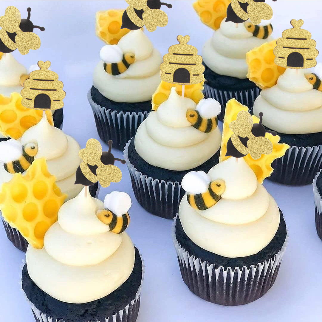 12pcs HoneyBee Cake Toppers Honeycomb Cake Decoration Paper Bee Confetti For Bee Theme Party Cake Decoration Supplies