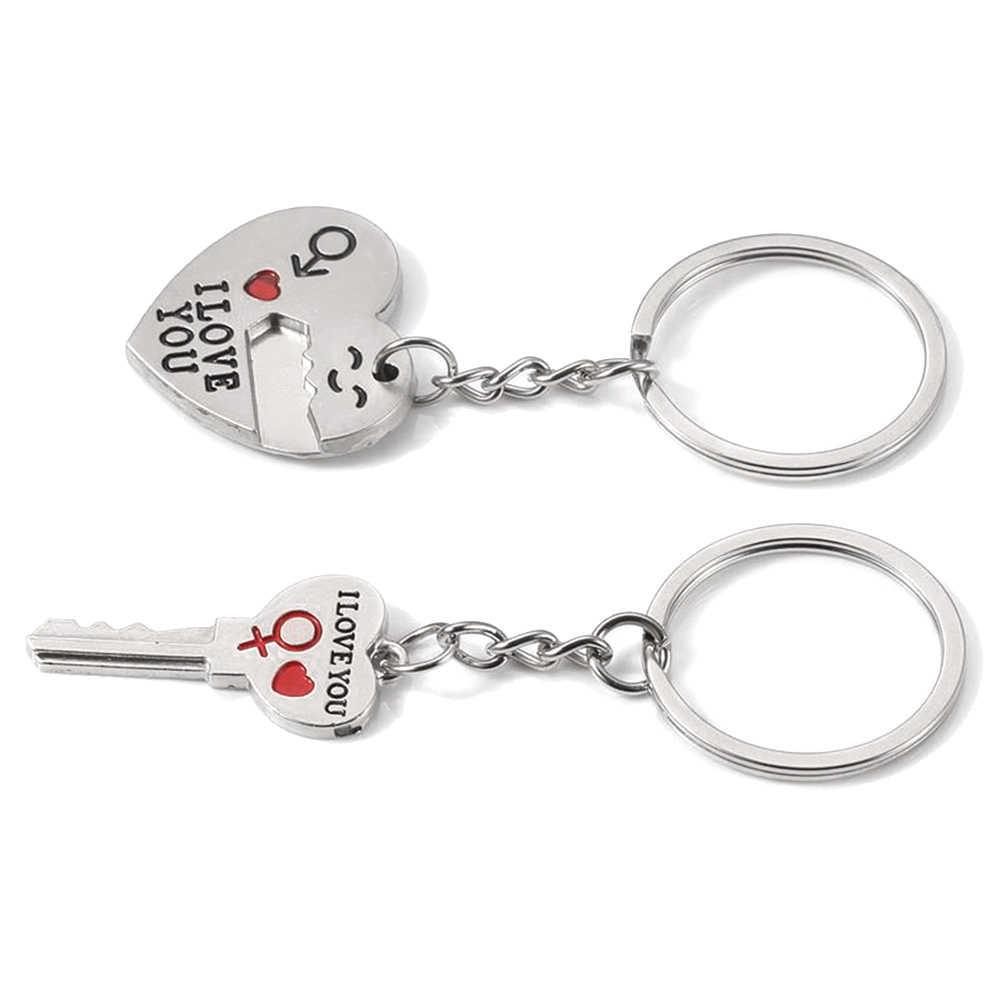 Nova Chegada 2 pçs/set Romântico EU Te Amo Coração Pingente Chave Chaveiro Casal Presente Chaveiro Moda Keychain