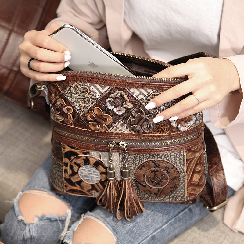 Cobbler Legend Women Bag Bohemian Genuine Leather Designer Floral Crossbody Luxury Shoulder Lady Tassels Vintage Splice Handbags Women Women's Bags cb5feb1b7314637725a2e7: 0600702-A-1|0910006-A-1|Multicolor