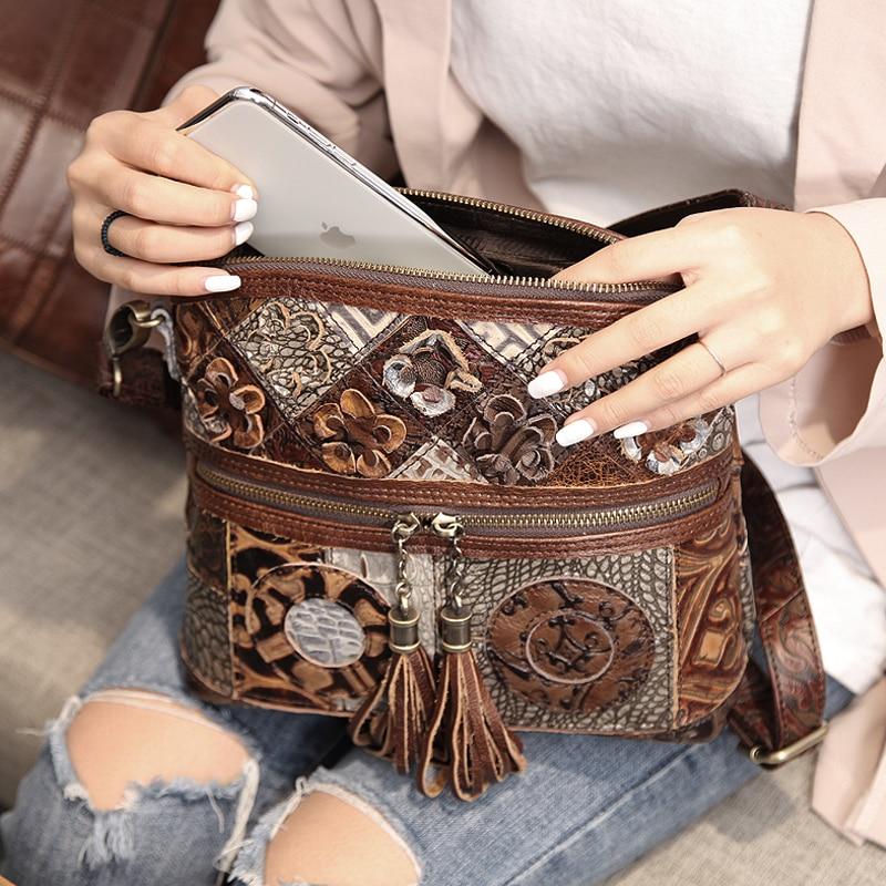 Cobbler Legend Women Bag Bohemian Genuine Leather Designer Floral Crossbody Luxury Shoulder Lady Tassels Vintage Splice Handbags Women Women's Bags cb5feb1b7314637725a2e7: 0600702-A-1|0910006-A-1|Multicolor