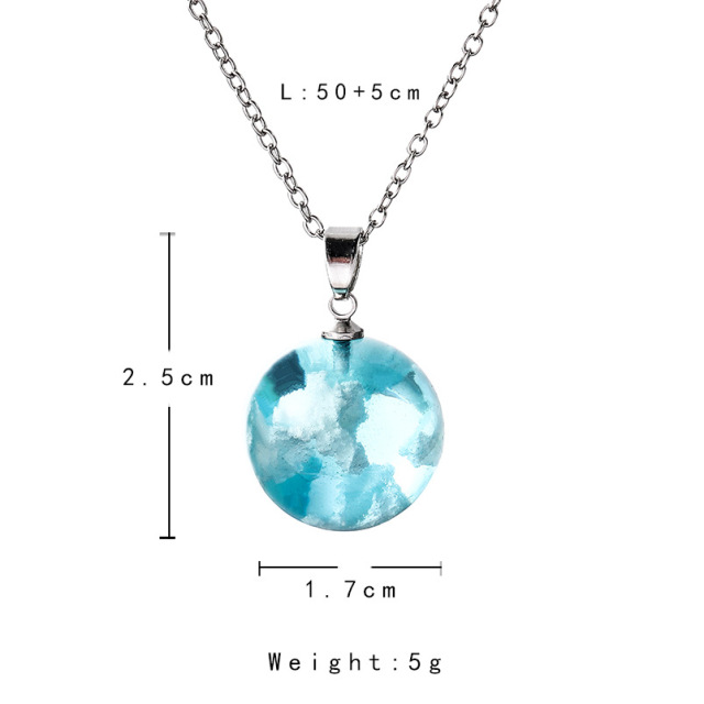 Chic Transparent Resin Rould Ball Moon Pendant Necklace Women Blue Sky White Cloud Chain Necklace Fashion Jewelry Gifts For Girl 4