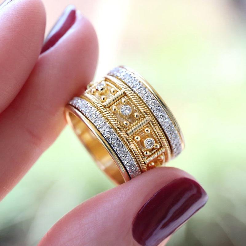 Luxury Brand Big Golden Finger Rings for Men Women Fine Jewelry Cubic Zircon Micro Paved Rhinestone Wedding Rings Gift Z5M527