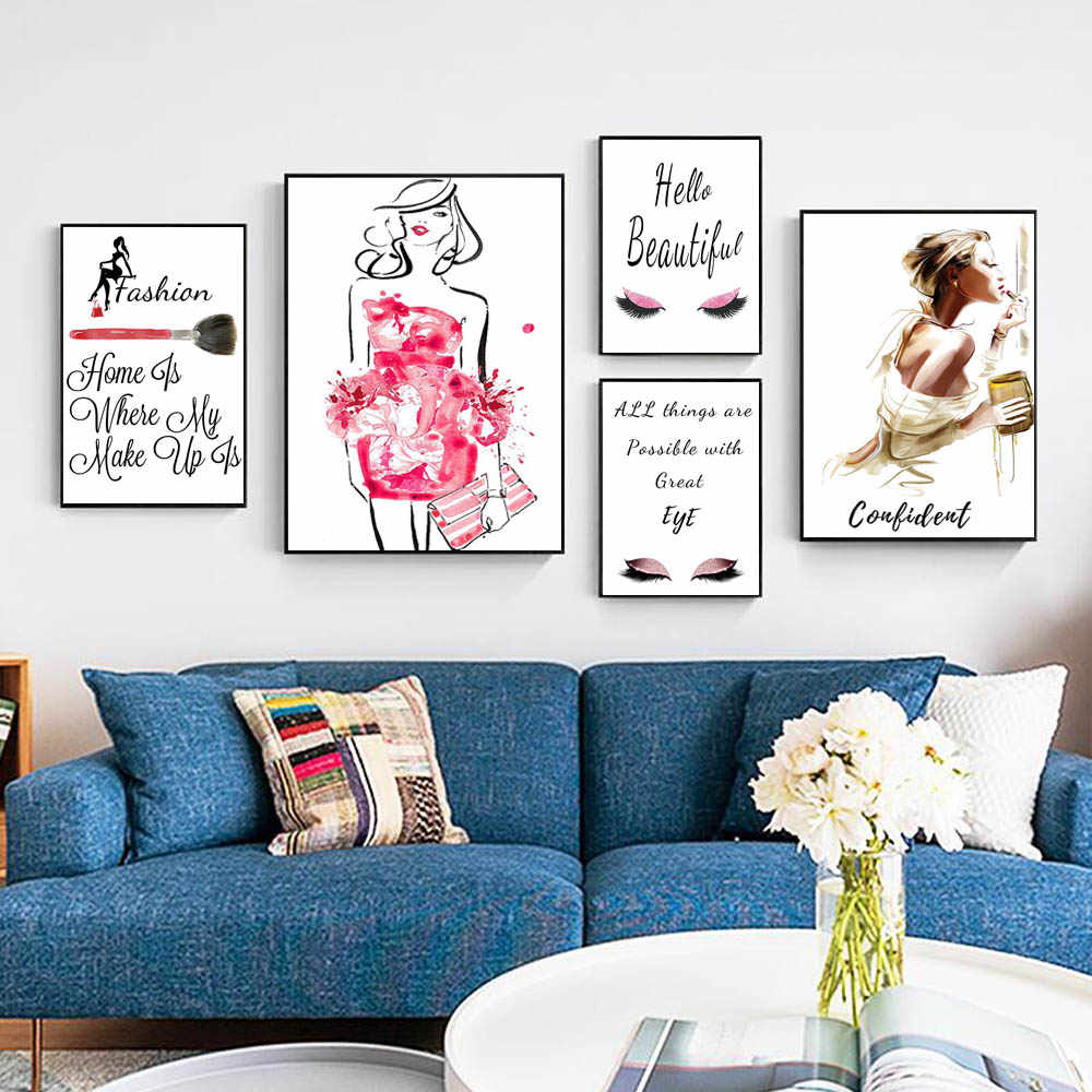 Сейчас модная художественная картина маслом Цветочное платье Модная женская парфюмерная ресница макияж Холст Девушка Спальня домашняя роспись