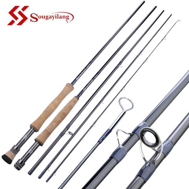"Sougayilang 2.7M Fly fishing Rod Fly 9""#5  4 Section EVA / Metal Handle Carbon Fiber Fly Fishing Rod Lake River Fishing Tackles"