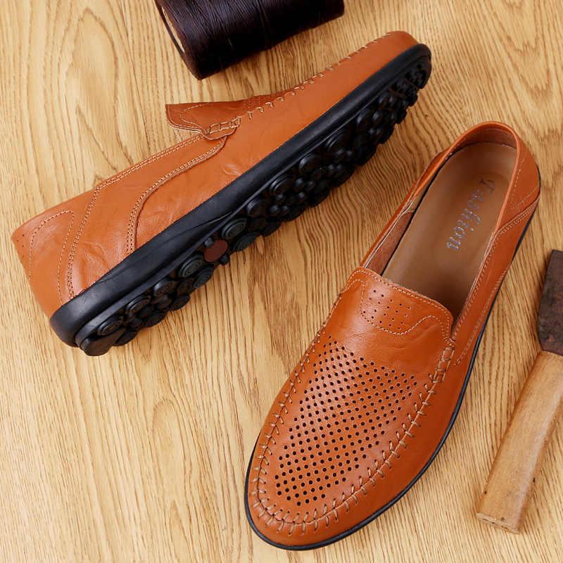 2019 Casual Men รองเท้าหนังแท้รองเท้าหนัง Breathable รองเท้าแตะ Loafers ชายรองเท้า Slip on รองเท้าขับรถรองเท้าใหม่ขนาดใหญ่ 47