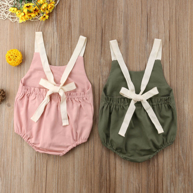 Newborn Infant Baby Girl Backless Rompers Baby Bodysuit Solid Leotard  Bodysuits Summer Kids Clothes