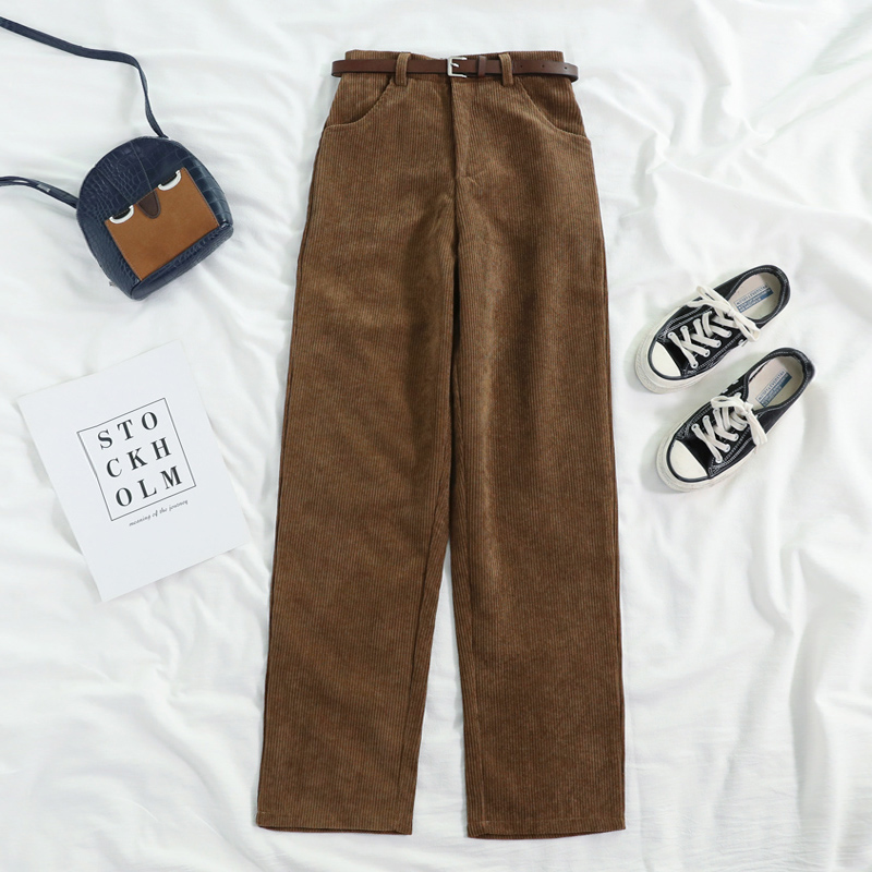 Lucyever New 2021 Women Spring Corduroy Pants High Waist Vintage Korean Wide Leg Pants Elegant Belt Loose Cotton Streetwear 3