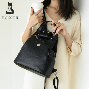 FOXER Girl's Travel Anti-theft Backpack Genuine Leather Lychee Pattern School Bag for Female Fashion Teenage Rucksack for Ladies