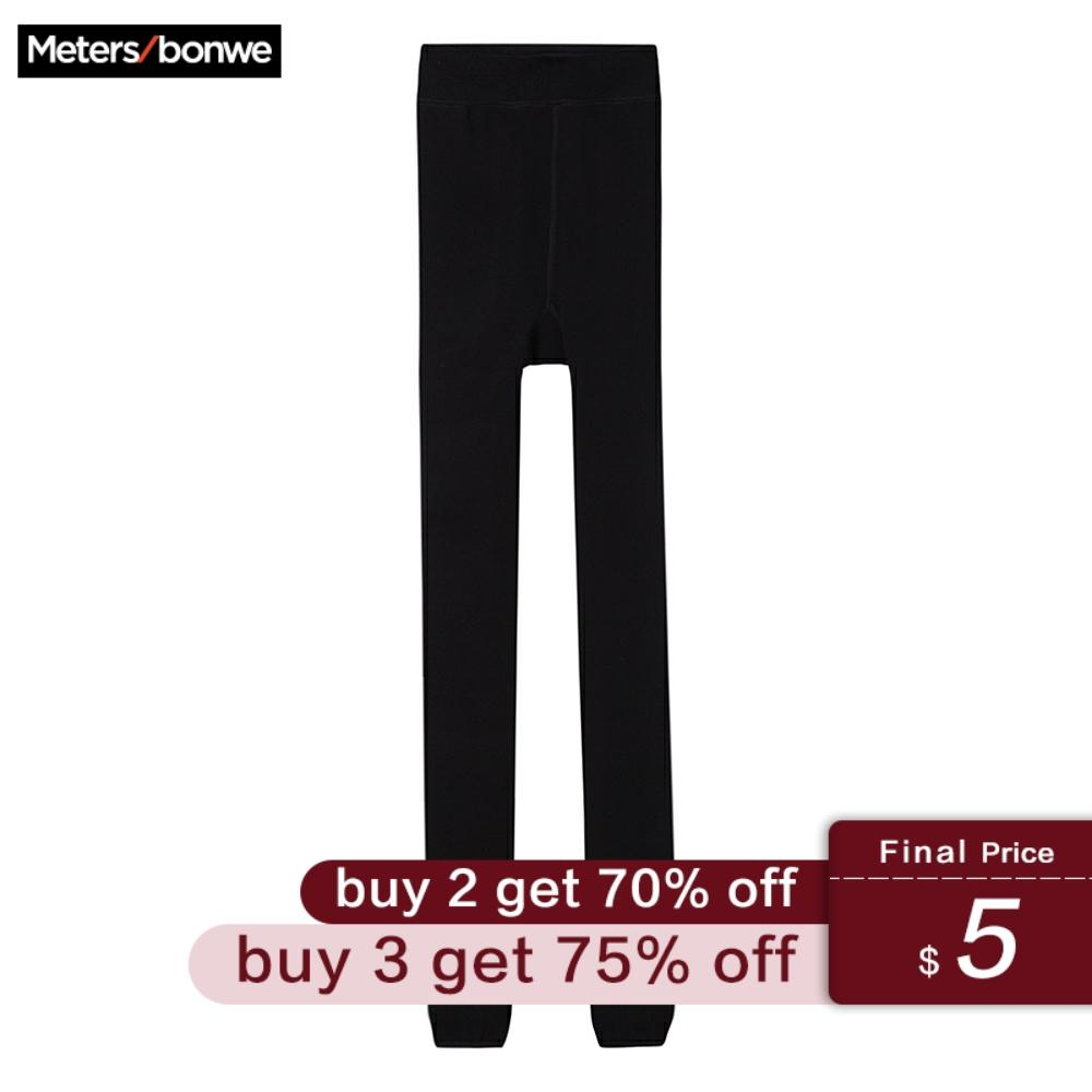 Metersbonwe Warm Women's Velvet Winter Cashmere Leggings With Foot Warm Solid Color Thick Pants High Waist Women Leggings