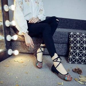 Image 5 - Veowalk bailarinas Vintage hechas a mano para mujer, zapatos informales con cordones, suela suave bordada