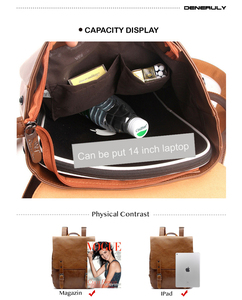 Image 2 - Leather Laptop Backpack Women Vintage Large Capacity Women Backpack School Teenager Girls Plecak Szkolny Travel Hiking Backpacks