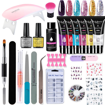 Poly Nail Gel Kit 25pcs/set With 6W UV LED Lamp Extension Gel Set Hard Jelly Builder Gel Nail Art Tool For Professional Manicure 1