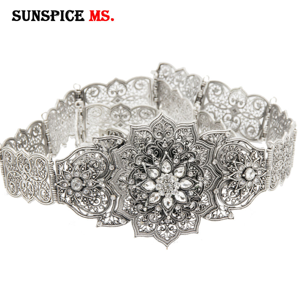 SUNSPICE-MS Caucasus Retro Silver Color Women Metal Belt Rhinestone Waist Chain Adjustable Length Morocco Caftan Body Jewelry
