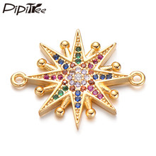 Pipitree Trendy Star Charms with CZ Zircon Stones Copper DIY Compass Charm for Men Women Bracelet Jewelry Making Connectors(China)