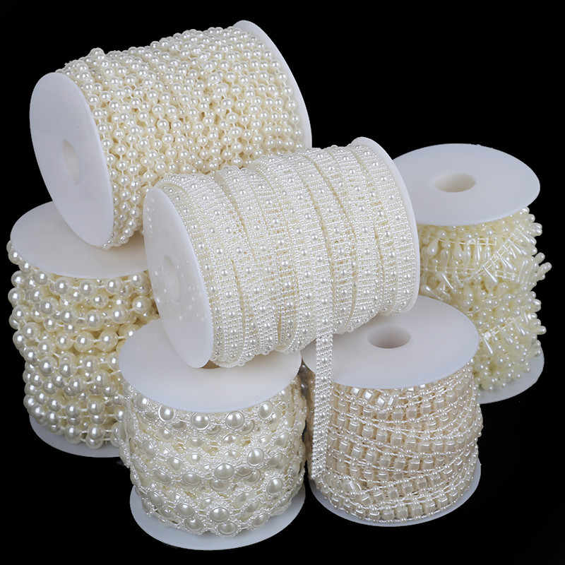 2-10m/bag Multi-size ABS Imitation Pearl Beads Chain Trim for DIY Wedding Party Decoration Jewelry Findings Craft Accessories