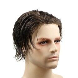 Natrual cabelo em linha reta 100% cabelo humano toupee fina pele toupee para homens completa pu masculino peruca sistema de substituição cor preta 8x10
