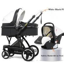 Belecoo Baby Stroller 3 in 1 With Car Seat PU High Landscape Stroller Newborns Pram Travel Trolley Walker Foldable Carriage
