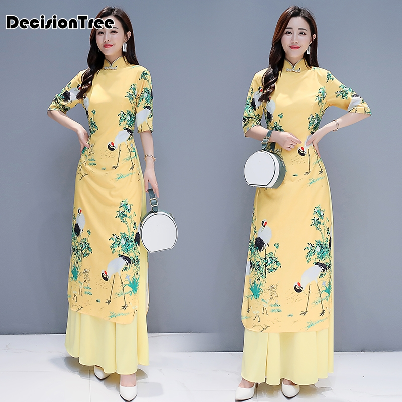 2019 Modern Cheongsam Ao Dai Vietnam Aodai Dress Qipao Long Oriental Dress Robe Vietnam Clothing Mandarin Collar Floral Print
