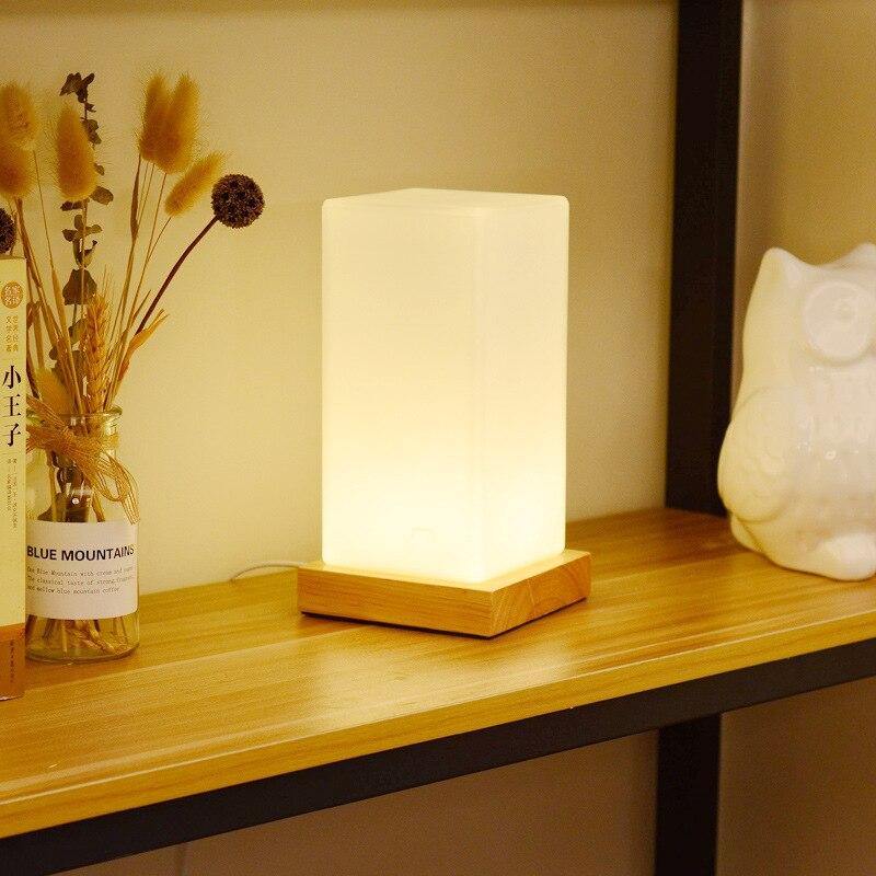madeira led luzes da noite lâmpada cabeceira