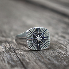 EYHIMD Polaris Star Signet Ring Minimalist Silver Cz Stainless Steel Men Rings Simple Mens Jewelry