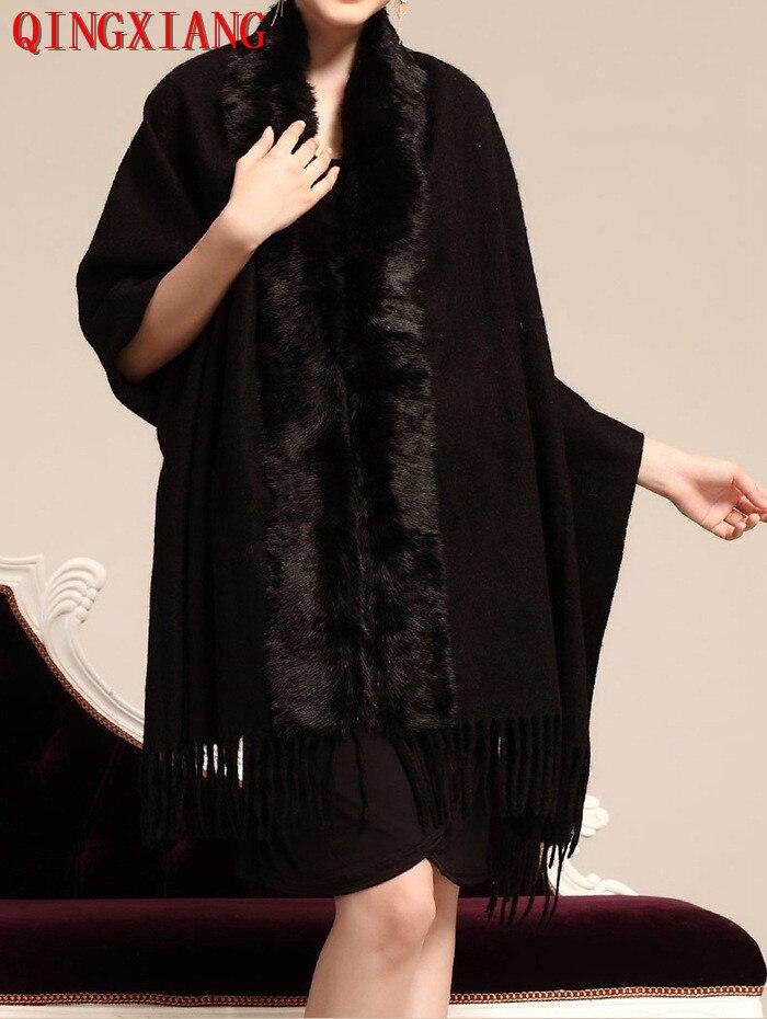 Womens Rabbit Fur Collar Back Long Poncho Warm Tassel Cape 2019 Winter Lady Wool Cashmere Cardigan Pashmina Fur Coat