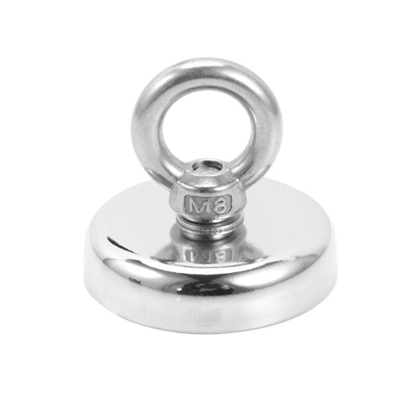 M8 48Mm Round Ring Suction Cup Magnet Strong Deep Sea Fishing Magnet Super 75Kg Tension Fishing Magnet With Ring Bolt Used For M|Fishing Tools| |  - title=