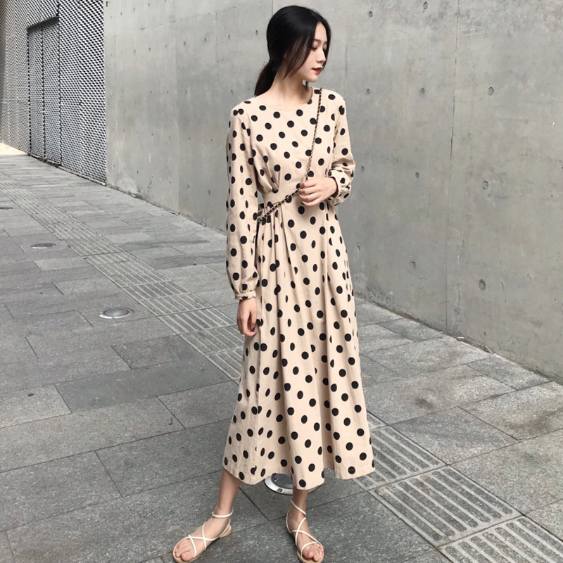 2019 Korean-style Retro Polka Dot Dress Long Sleeve Autumn New Style Mid-length Waist Hugging Slimming A- Line Skirt Sub-WOMEN'S