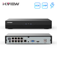 H.View H.265 Poe Nvr 48V Cctv Security System 5Mp Video Audio Recorder 8Ch Network Surveillance For Poe Ip Camera Onvif