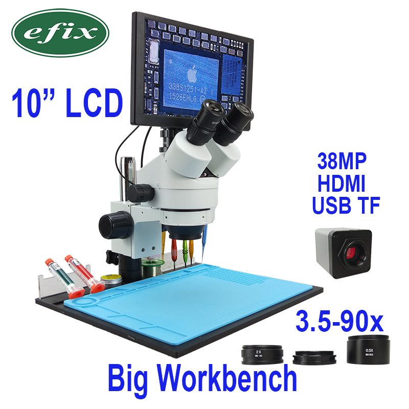 efix 10 LCD 38MP Continuous Zoom 3 5 90X Trinocular Stereo Microscope 1080 HDMI USB Digital