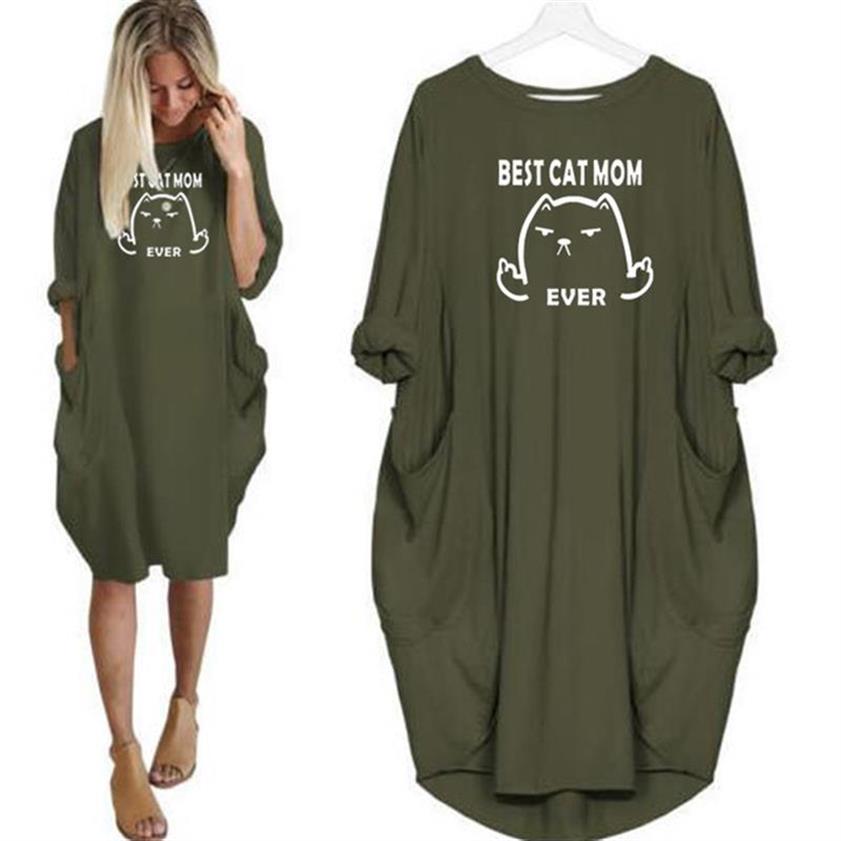 Платье Best кошка мама, с принтом в виде букв и карманом, одежда в винтажном стиле, большой размер женская обувь с цветочным принтом, леггинсы ...