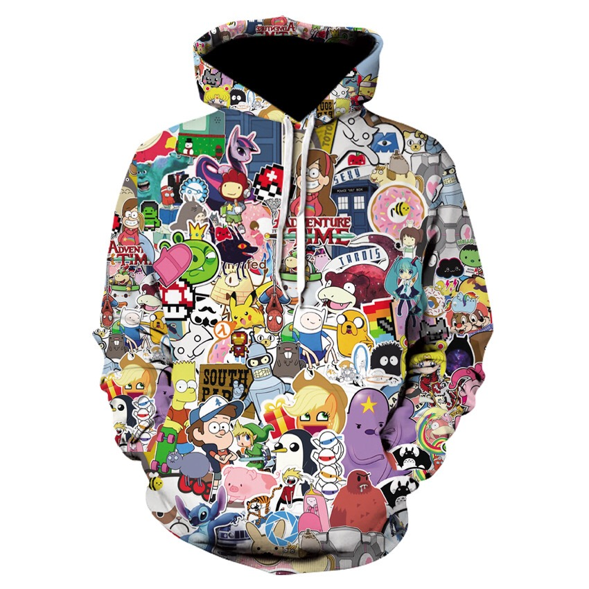2020 Latest 3D Printed Cartoon BMW Xiaoli Pattern Hoodie Funny Anime Pullover Cute Campus Couple Hoodie Various Cute Styles