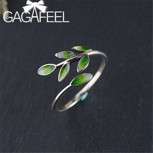 GAGAFEEL Simple Enamel Leaf Open Ring Women's Personalized Art S925 Sterling Silver Cloisonne Leaves Rings Elegant Jewelry(China)