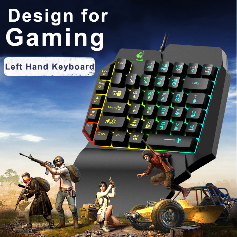 Image 2 - Left Hand Keyboard Single Hand Keyboard Mechanical Feel Game Keyboard for Mobile Tablet Laptop PUBG GameKeyboards   - AliExpress
