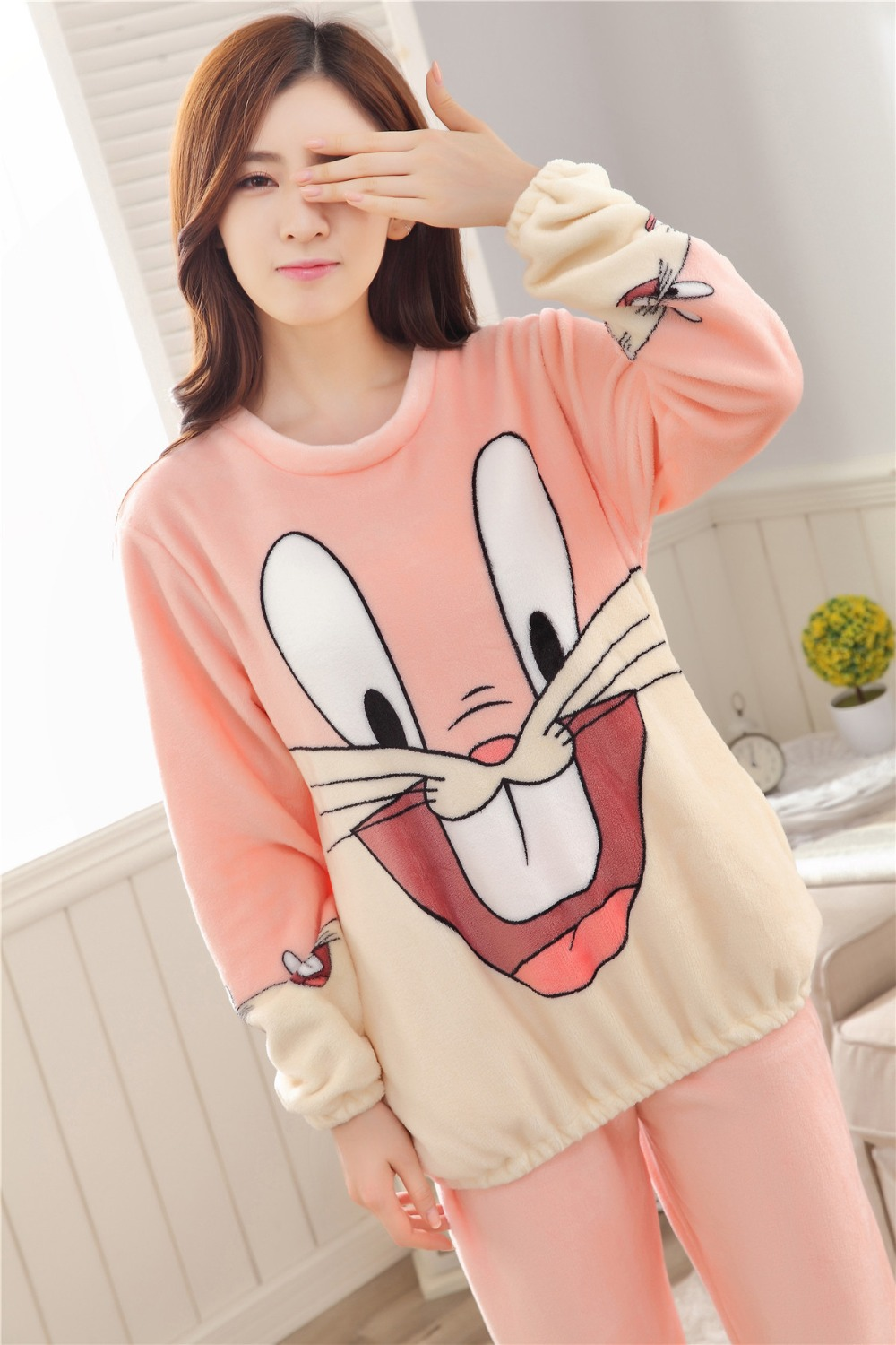 Women Pajamas Set For Autumn cute cartoon pink Women Clothes Sleepwear Nightgown For Women Long Sleeve And Pants Hot Sale pijama 60