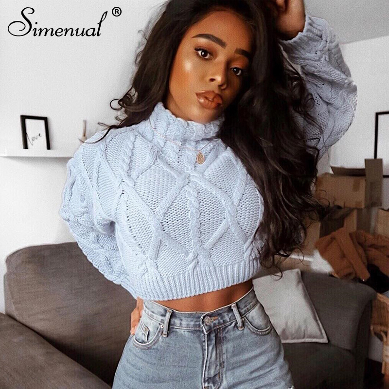 Simenual Knitted 2019 Autumn Women Sweaters Twist Turtleneck Casual Pullovers Jumper Fashion Solid Basic Long Sleeve Sweater New