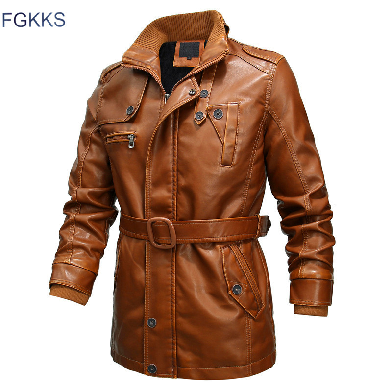 FGKKS Winter Brand Men PU Leather Jackets Men's Fashion Locomotive Leather Coats Male High Quality Leather Jacket Brand Clothing