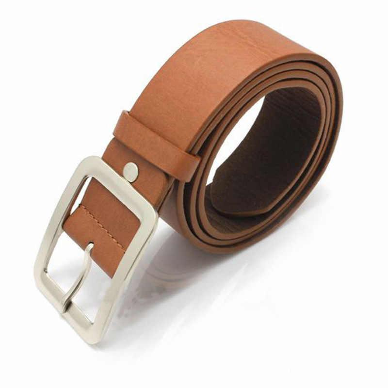Cinturón de cuero de señora de moda, hebilla Pin Casual, decoración Vintage, hebilla de Metal cuadrada, cinturón para Jeans, accesorios Hipster