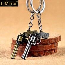 L.Mirror 1Pcs Mini Cute Keychain for Men Gun Weapon Key Chain Rings for Kids Adults Car Keyring Metal Key Holder New