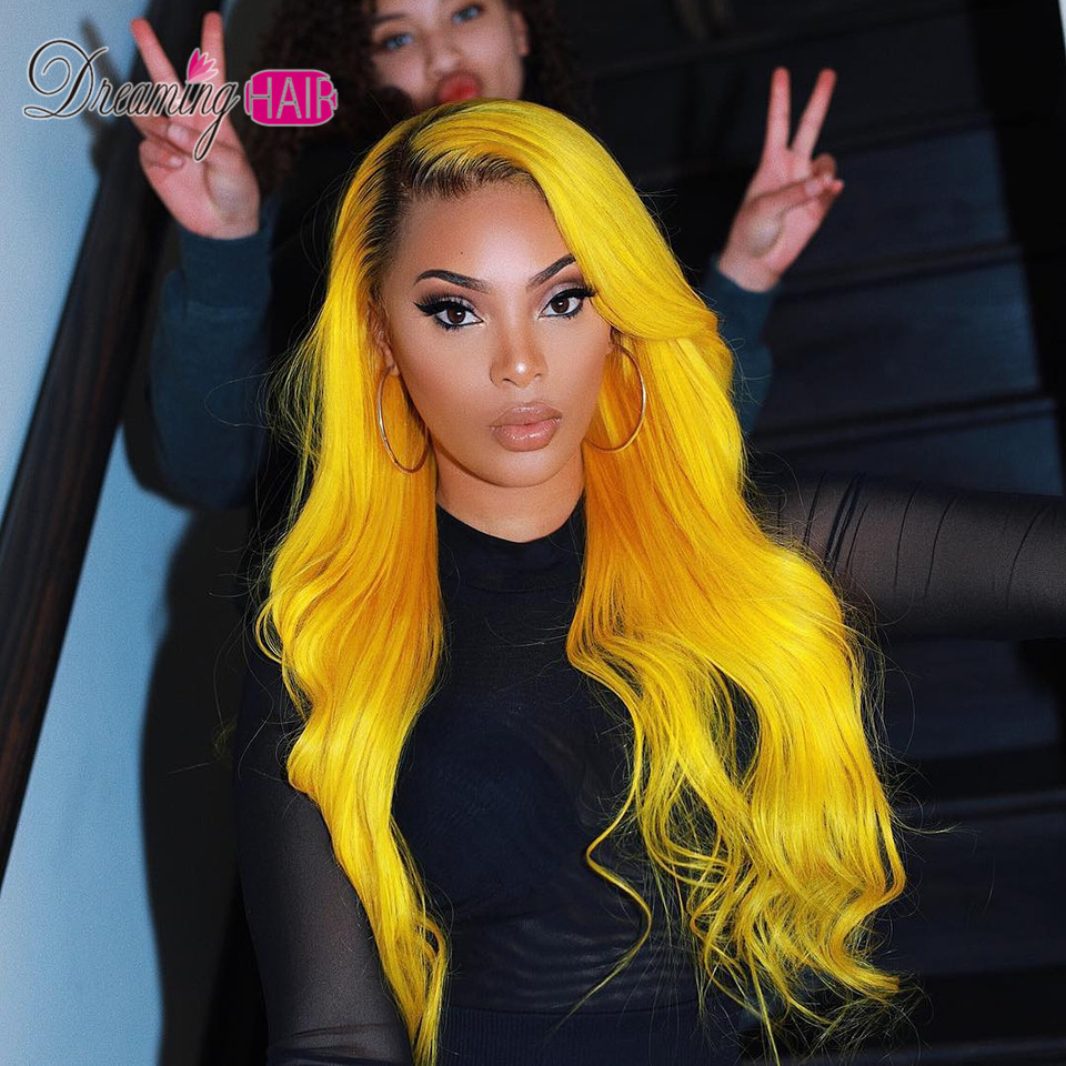 Yellow Grey Lace Human Hair Wigs With Baby Hair Pre Plucked 613 Blonde Blue Pink Red Gray Green Ombre Lace Wig 180% Density