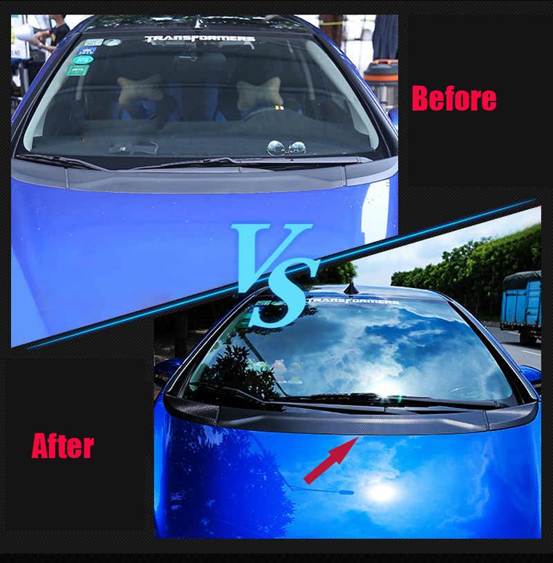 3 יח'\סט רכב סטיילינג סיבי פחמן מול הוד מכונה כיסוי מדבקה עבור הונדה Fit/ג 'אז GK5 3rd GEN 2014 -2018 רכב מדבקת C1353
