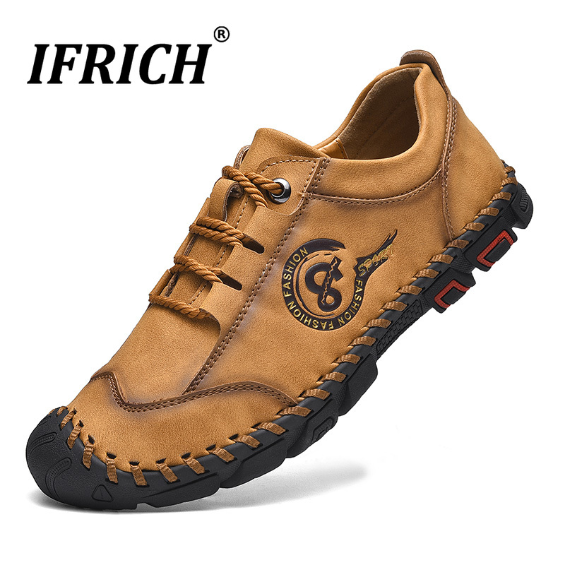 Ifrich 2019 Youth Casual Shoes For Men Black Pu Leather Men Sneakers Hand Made Mens Casual Footwear Rubber Sole Walking Shoes