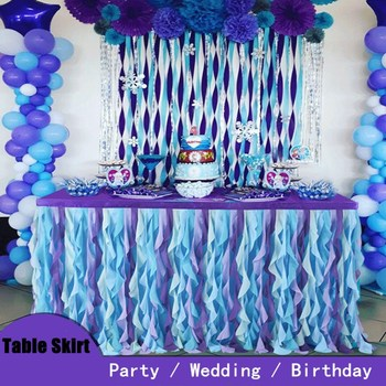 Zaopatrzenie imprezy obrus falisty urodziny wesele bankiet dekoracje świąteczne obrus okrągły prostokąt szyfonowa spódnica Tutu obrus tanie i dobre opinie 1029 Adamaszek tkanina Gładkie barwione Zwykły Włókniny Hotel Ślub Party BANQUET Stałe Kids Birthday Party Decor