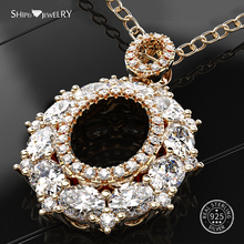 Shipei 100% 925 Sterling Silver Fine Jewelry Yellow Gold Rose Gold Oval Sapphire Pendnat Necklace for Women Anniversary Gift